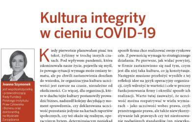 """""""Kultura integrity wcieniu COVID-19"""" – nowy artykuł Joanny Szymonek w""""Personel Plus"""""""